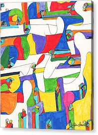 Colored Columns Acrylic Print by Ellen Howell