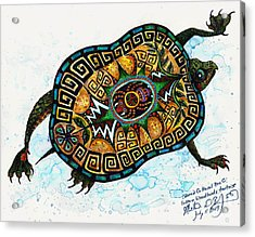Colored Cultural Zoo C Eastern Woodlands Tortoise Acrylic Print