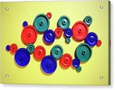 Colored Gears Acrylic Print by Joseph Clark