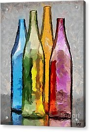 Colored Glass Bottles Acrylic Print