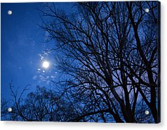 Colored Hues Of A Full Moon Acrylic Print by Bill Helman