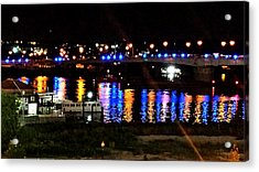 Colored Lights Reflect On Potomac Acrylic Print by Kenny Glover