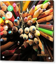 Colored Pencils Acrylic Print by Jaime Neo