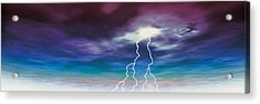 Colored Stormy Sky W Angry Lightning Acrylic Print by Panoramic Images