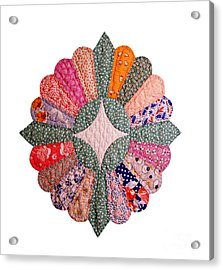 Colorful 1920s Quilt Block Isolated Acrylic Print by Susan Montgomery