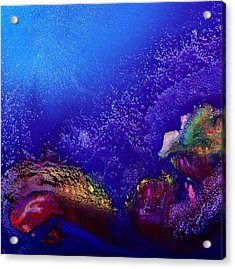 Colorful Abstract Art-vivid Fluid Painting Life Below By Kredart Acrylic Print by Serg Wiaderny