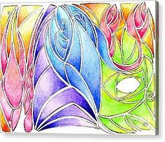Colorful Abstract Drawing Acrylic Print by Minding My  Visions by Adri and Ray