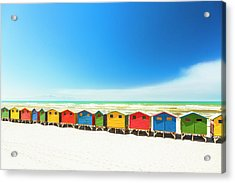 Colorful Beach Houses In Muizenberg Acrylic Print by Spooh