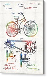 Colorful Bike Art - Vintage Patent - By Sharon Cummings Acrylic Print by Sharon Cummings