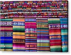 Colorful Blankets Santa Fe Acrylic Print by Carol Leigh