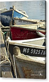 Colorful Boats At Dock Acrylic Print by Amazing Jules