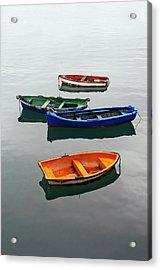 colorful boats on Santurtzi Acrylic Print