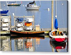 Colorful Boats Rockland Maine Acrylic Print by Marianne Campolongo