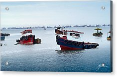 Colorful Boats Acrylic Print