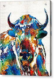 Colorful Buffalo Art - Sacred - By Sharon Cummings Acrylic Print by Sharon Cummings