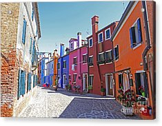 Colorful Burano Acrylic Print by Ernst Cerjak