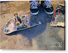 Colorful Busted Skateboard With Shoes  Acrylic Print