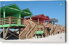Colorful Cabanas Acrylic Print