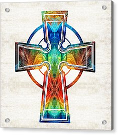 Colorful Celtic Cross By Sharon Cummings Acrylic Print by Sharon Cummings