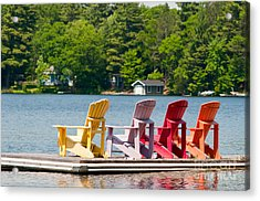 Acrylic Print featuring the photograph Colorful Chairs by Les Palenik