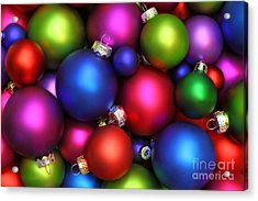 Colorful Christmas Ornaments Acrylic Print by Pattie Calfy