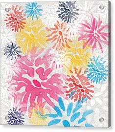 Colorful Chrysanthemums- Abstract Floral Painting Acrylic Print by Linda Woods