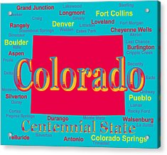 Colorful Colorado State Pride Map Silhouette  Acrylic Print