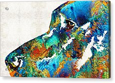 Colorful Dog Art - Loving Eyes - By Sharon Cummings  Acrylic Print