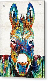 Colorful Donkey Art - Mr. Personality - By Sharon Cummings Acrylic Print by Sharon Cummings