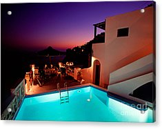 Colorful Dusk In Santorini Acrylic Print