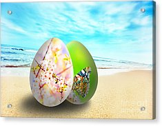 Colorful Easter Eggs On Sunny Beach Acrylic Print by Michal Bednarek