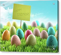 Colorful Easter Eggs With Sign In A Field Acrylic Print by Sandra Cunningham