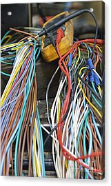 Colorful Electrical Wires And A Voltmeter Acrylic Print by Sami Sarkis