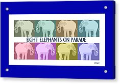 Pastel Elephants On Parade Acrylic Print