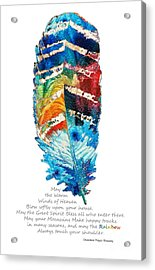Colorful Feather Art - Cherokee Blessing - By Sharon Cummings Acrylic Print by Sharon Cummings