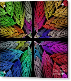 Colorful Feather Fern - 4 X 4 - Abstract - Fractal Art - Square Acrylic Print by Andee Design