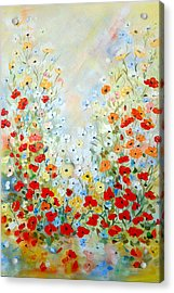 Colorful Field Of Poppies Acrylic Print by Dorothy Maier