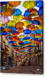 Colorful Floating Umbrellas Acrylic Print by Marco Oliveira