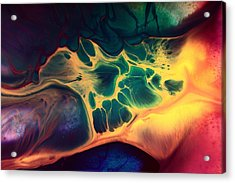 Colorful Fluid Art-wave Of Fire By Kredart Acrylic Print