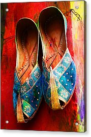 Colorful Footwear Juttis Sales Jaipur Rajasthan India Acrylic Print