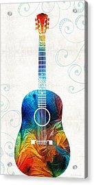 Colorful Guitar Art By Sharon Cummings Acrylic Print by Sharon Cummings