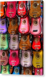 Colorful Guitars Acrylic Print by Tony  Colvin