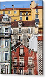 Colorful Houses In The City Of Lisbon Acrylic Print by Artur Bogacki