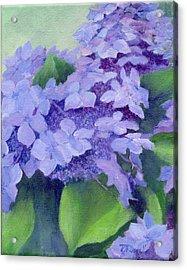 Colorful Hydrangeas Original Purple Floral Art Painting Garden Flower Floral Artist K. Joann Russell Acrylic Print