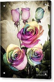 Colorful Kaleidoscope  Roses Acrylic Print by Linda Matlow