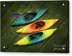 Colorful Kayaks Acrylic Print by Suzi Nelson
