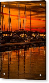 Colorful Lake Norman Sunset Acrylic Print by Serge Skiba