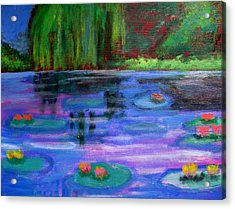 Acrylic Print featuring the painting Colorful Lilly  Pad Flowers After Monet by Diana Riukas