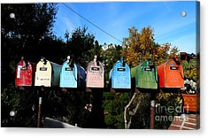 Colorful Mailboxes Acrylic Print by Nina Prommer