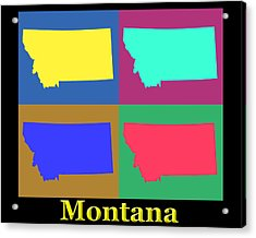 Colorful Montana State Pop Art Map Acrylic Print by Keith Webber Jr